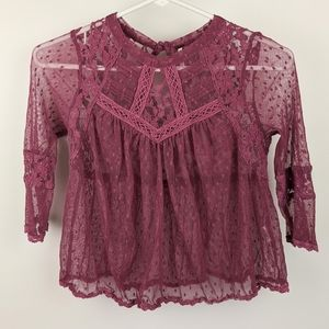 Free People Purple Mesh and Lace Sheer Top